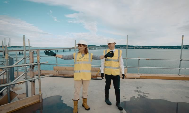 Lorraine Kelly being shown around the build of the new V&A Dundee by STROMA Films