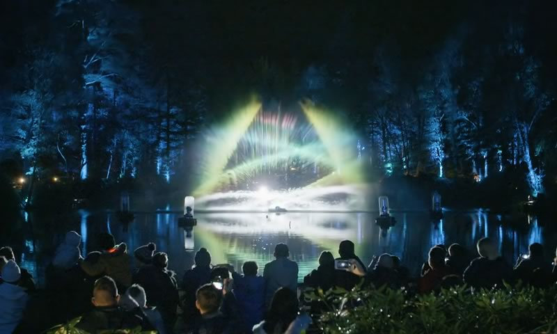 Shimmer outside lighting display in Scotland by STROMA Films