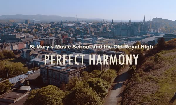 Perfect Harmony - Edinburgh skyline show the Old Royal High School Building