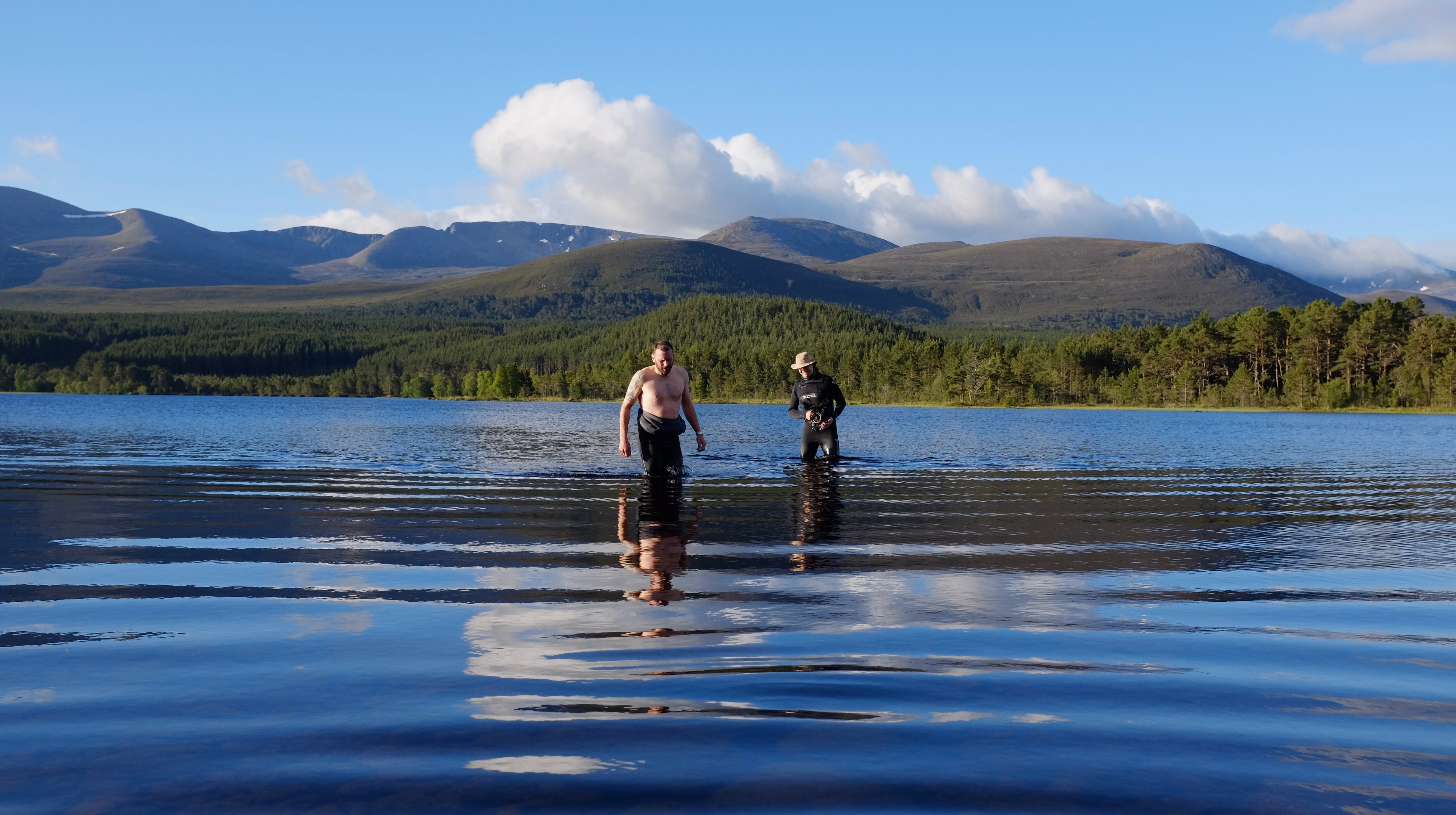 Filming Mark in the middle of a freezing Loch Morlich at 5am